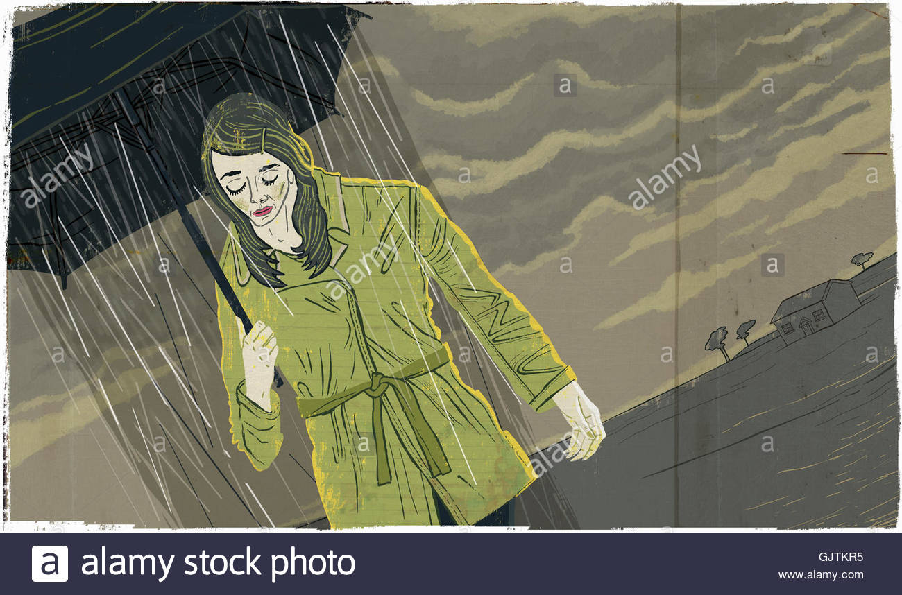 Plain Rain Falling Umbrella Depressed Woman Walking Under Gloomy Sky With From In Inspiration Decorating