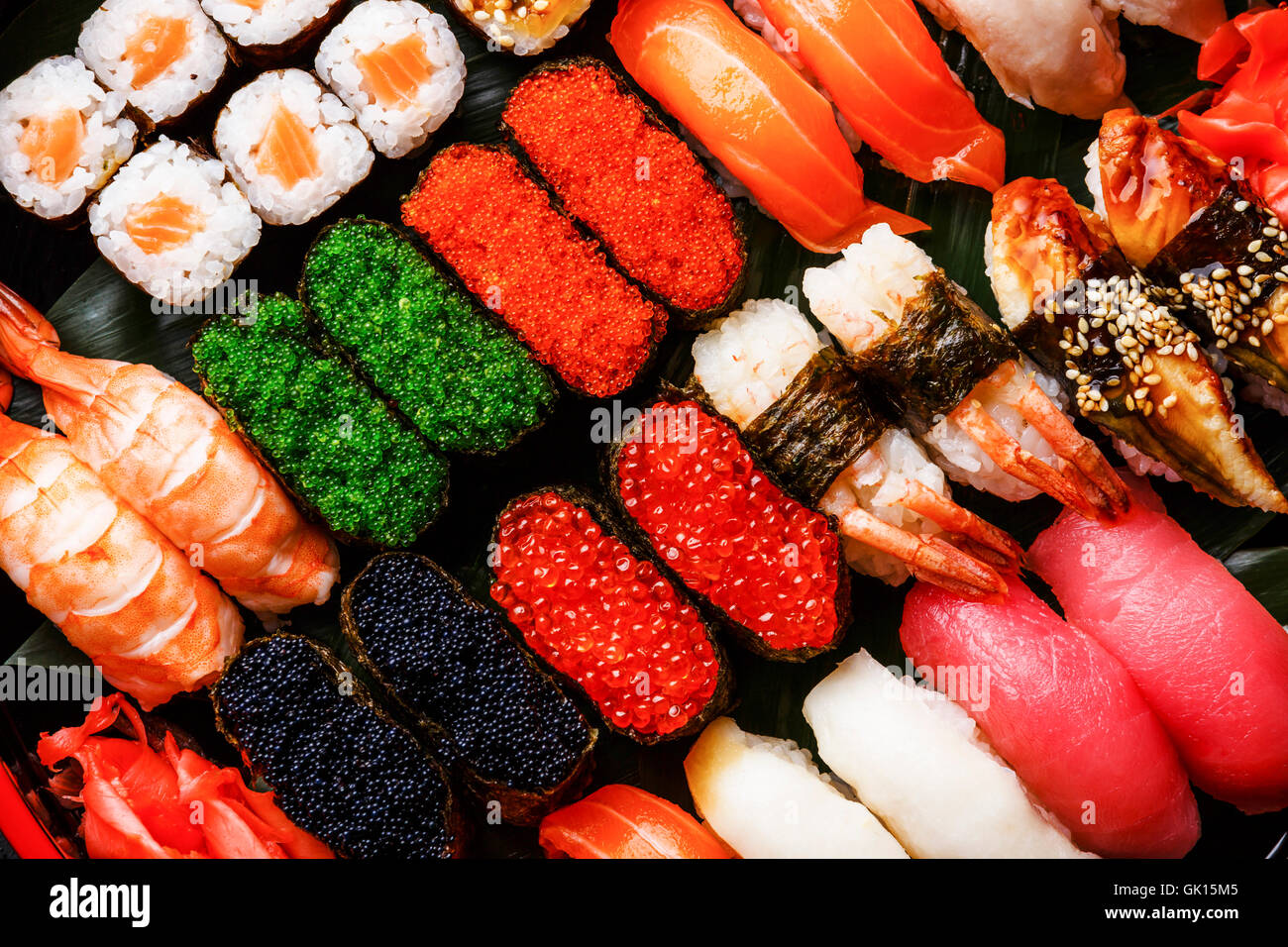 sushi set gunkan nigiri and rolls close up stock photo. Black Bedroom Furniture Sets. Home Design Ideas