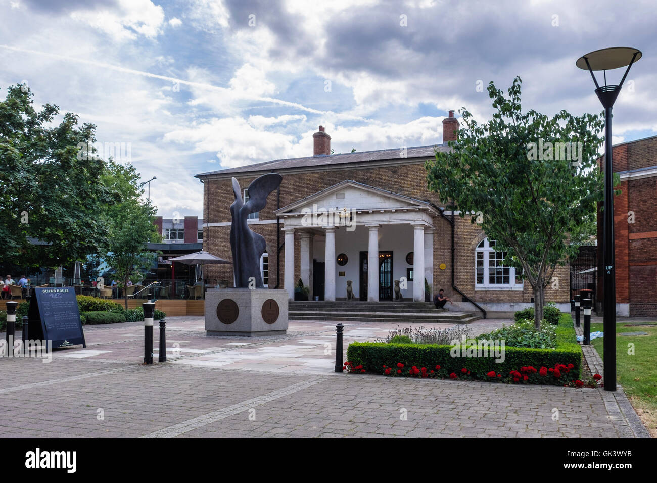 Restaurant Exterior Architecture - The guard house pub and restaurant exterior and abstract sculpture greek goddess of victory nike
