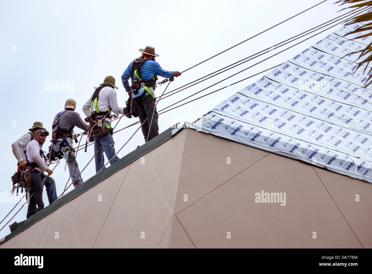 Captivating Naples Florida Artis Naples Complex Roof Repair Construction Man Laborer  Worker Safety Personal Protective Equipment PPE Lifeline Harness Rappelling  S