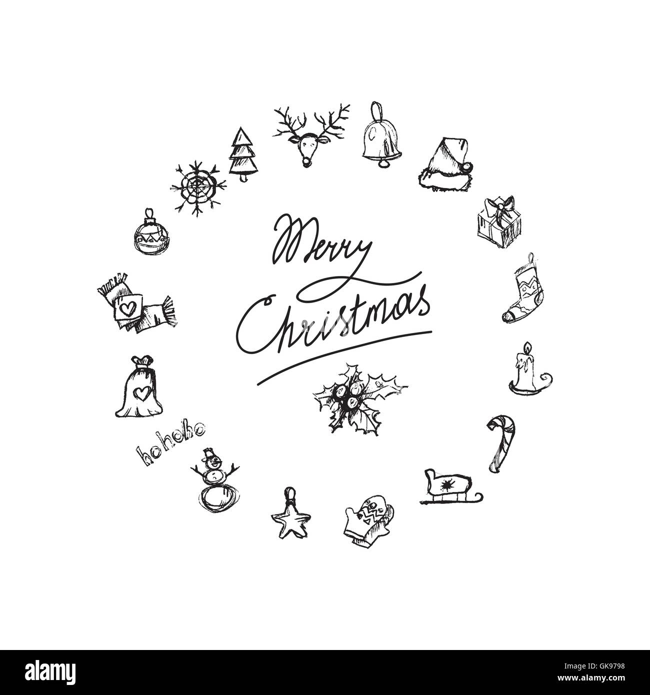 Merry Christmas Icons In View Wreath Happy New Year Symbols Winter