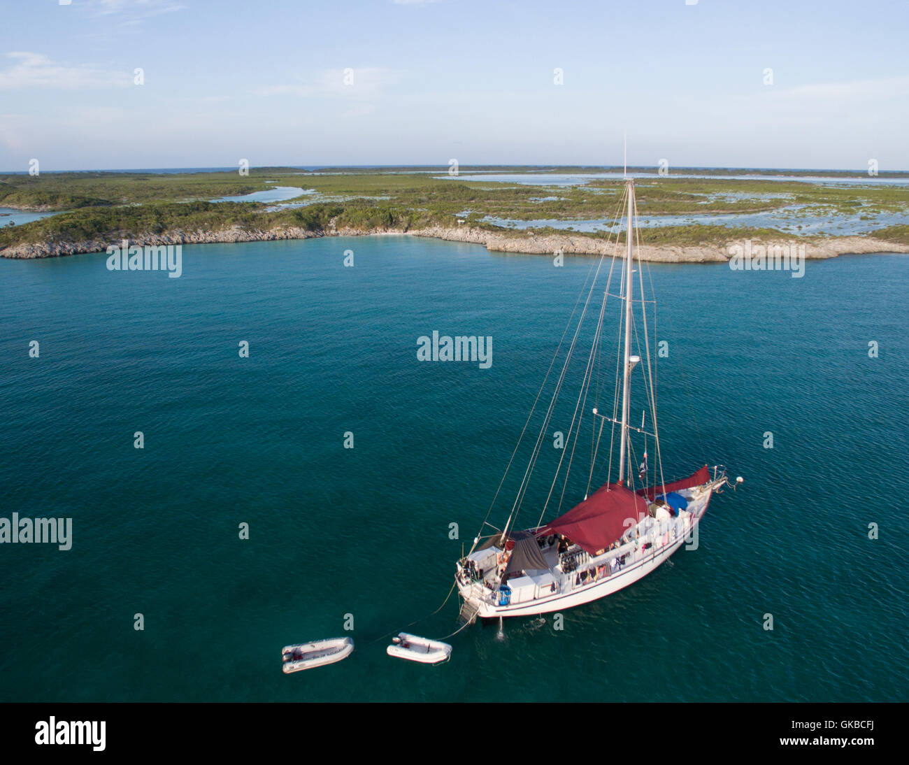 Aerial of a sailboat off the coast of shroud cay exuma cays aerial of a sailboat off the coast of shroud cay exuma cays bahamas islands sciox Images