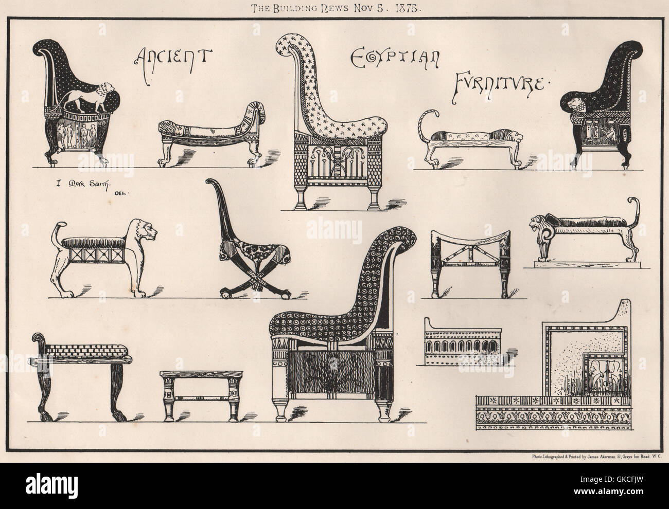 Ancient egyptian furniture - Ancient Egyptian Furniture Antique Print 1875
