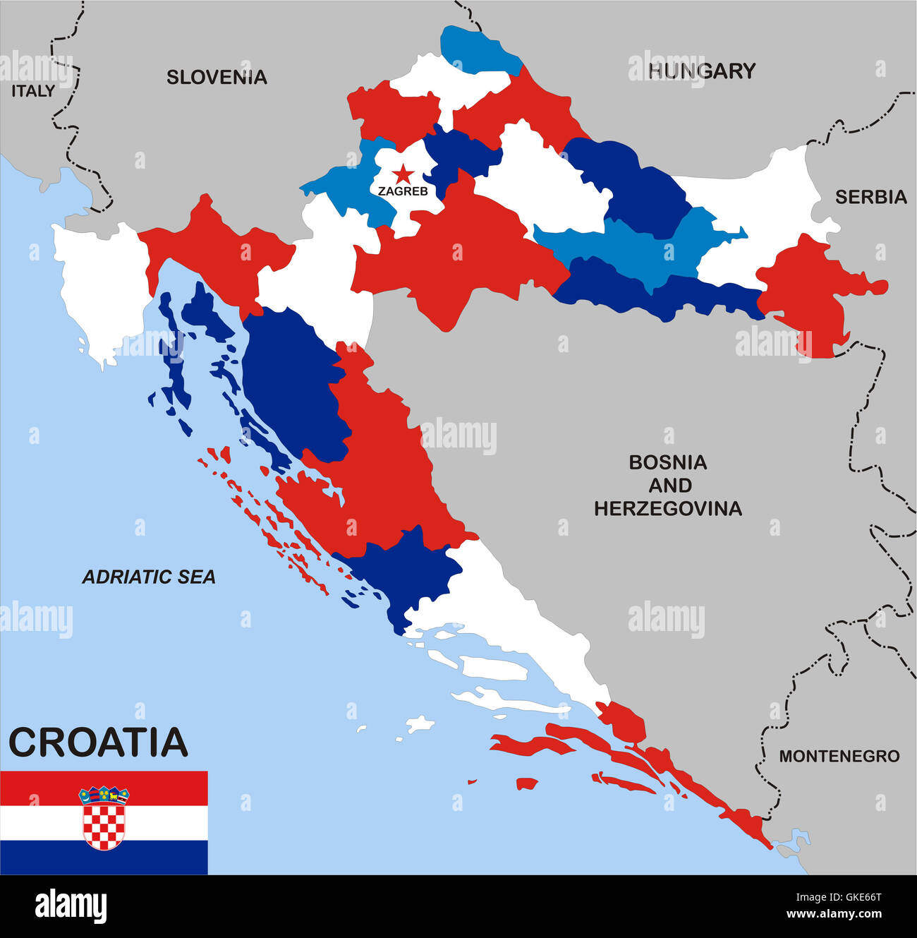 croatia political map Stock Photo Royalty Free Image 115252896 Alamy