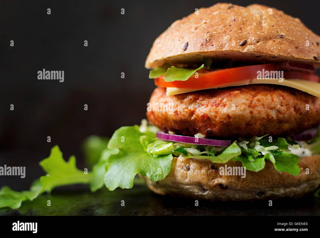 Big Sandwich Hamburger With Juicy Chicken Burger Cheese Tomato - Black hamburger