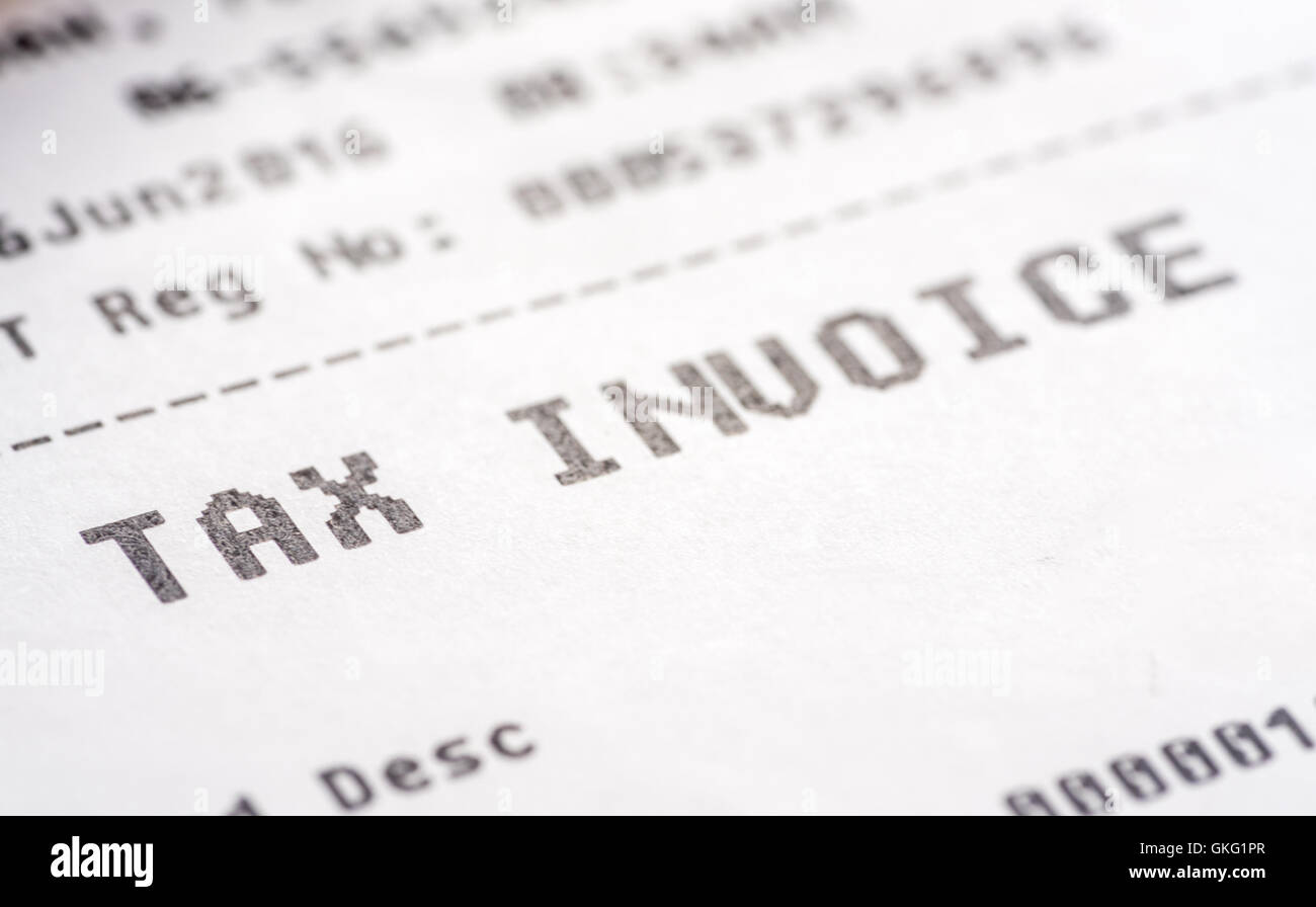 tax invoice receipt with macro view stock photo, royalty free, Invoice examples