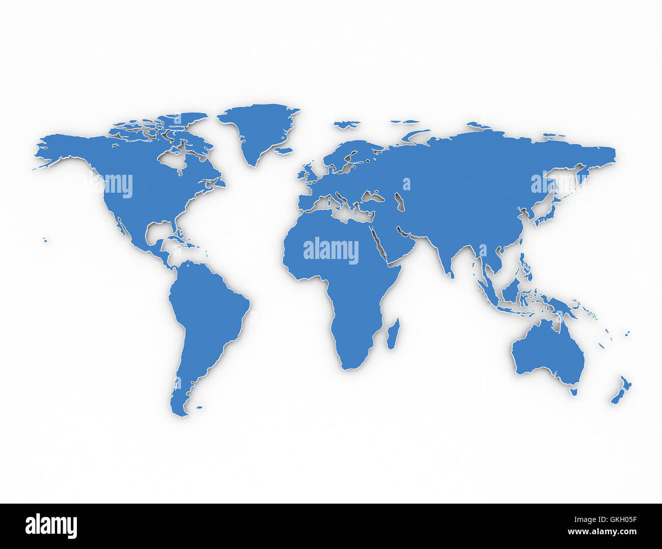 Blue outlines 3d world map on white background Stock Photo ...