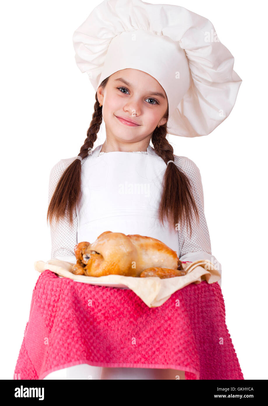 White apron girl - Little Girl In A White Apron Holds On A Plate Of Fried Chicken Isolated On White Background