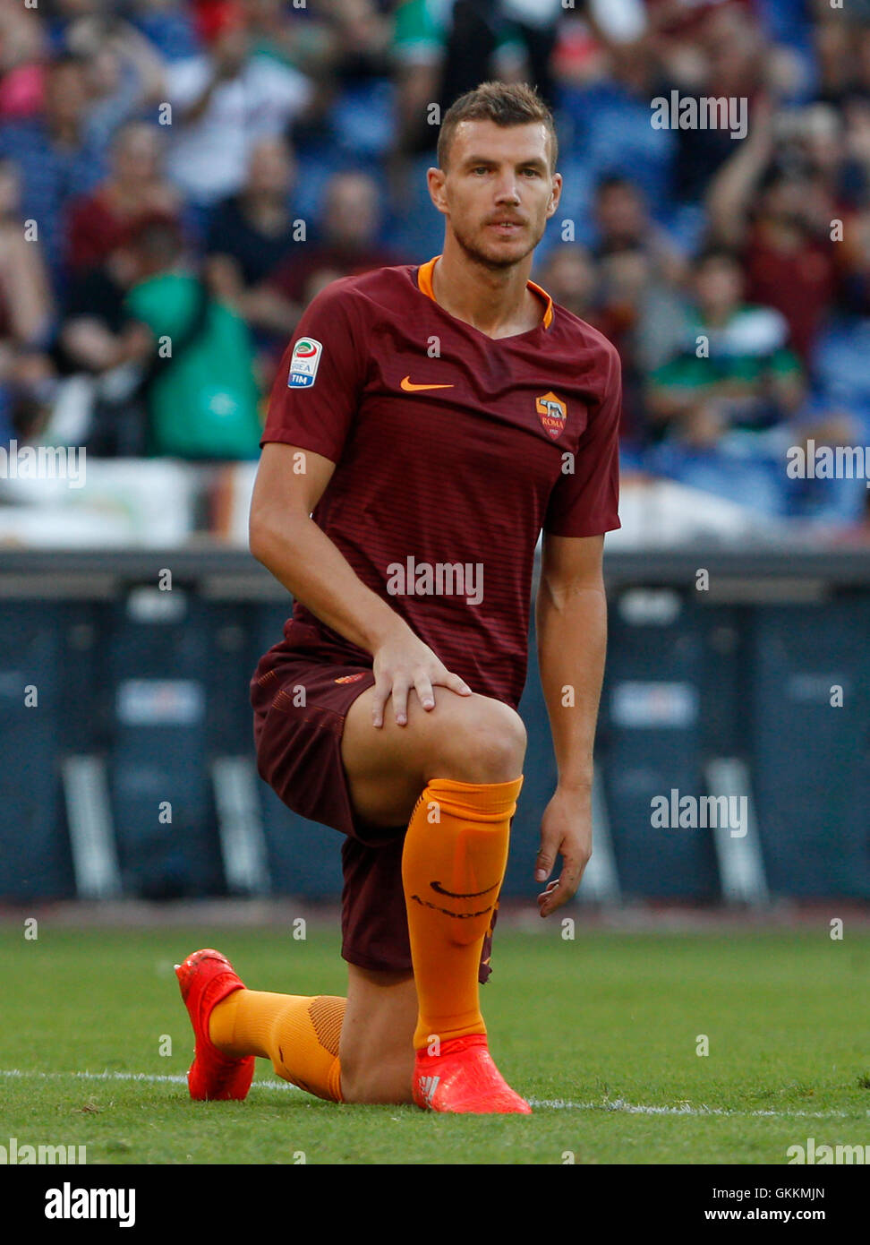 Rome Italy 20th Aug 2016 Roma•s Edin Dzeko reacts during the