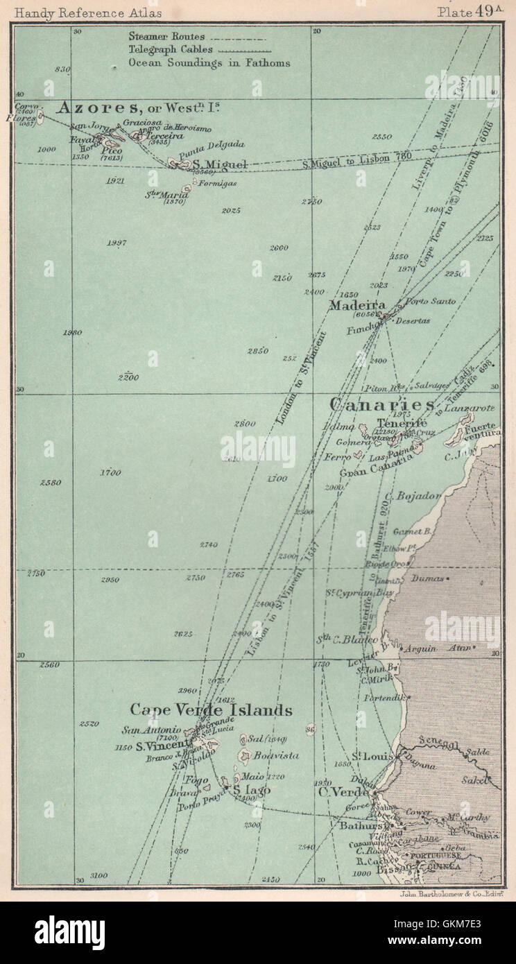 cape verde islands azores madeira canary islands  old map. macaronesia cape verde islands azores madeira canary islands
