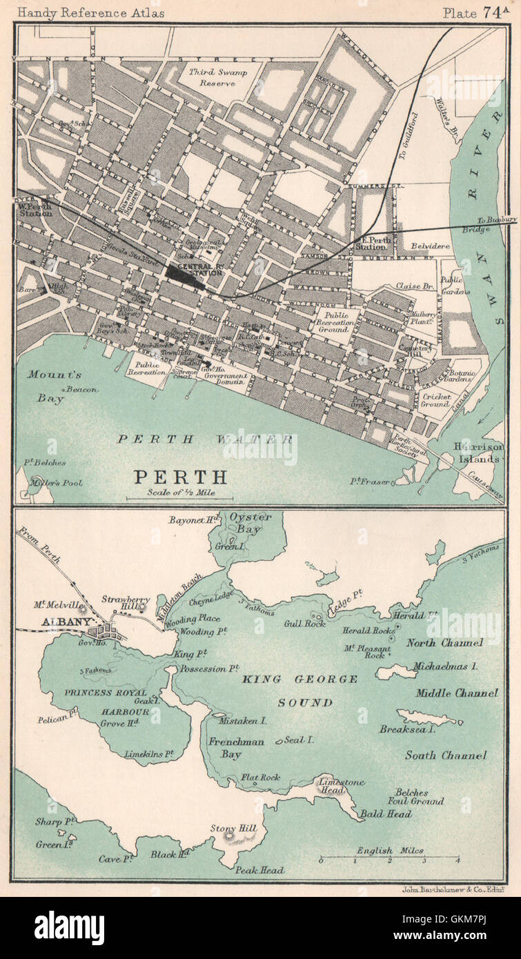 Perth citytown plan Albany King George Sound Western Australia