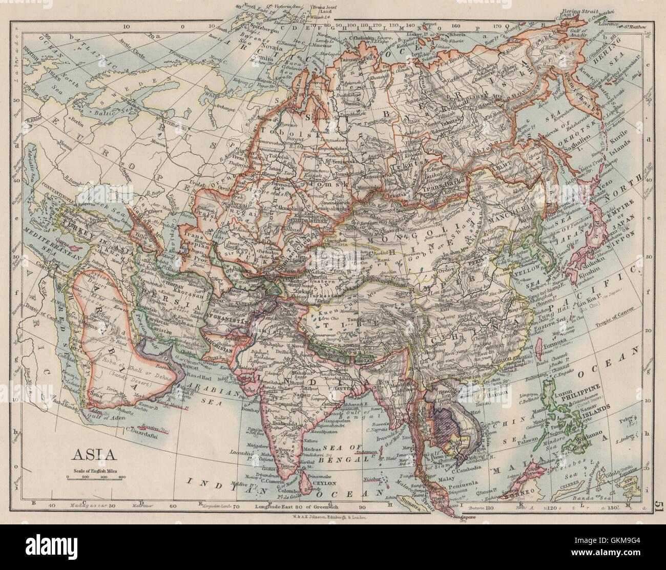 ASIA POLITICAL Persia Siam Hejaz China Japan Corea Turkestan - Japan map 1900