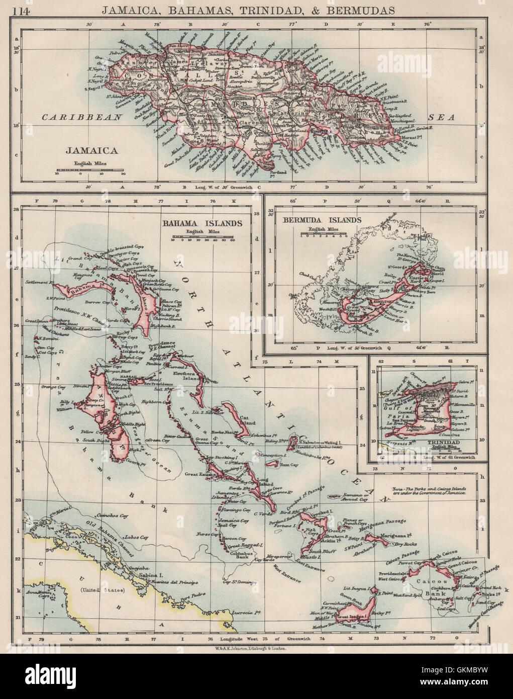 Caribbeanatlantic islandsjamaica bermuda bahamas trinidad stock jamaica bermuda bahamas trinidad johnston 1900 map gumiabroncs Image collections