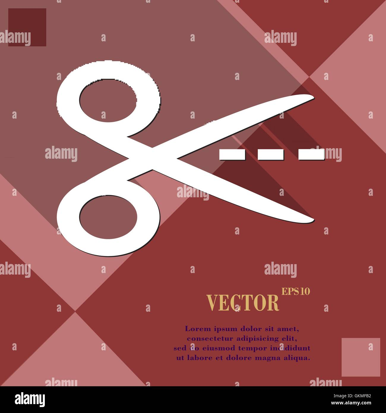 Scissors cut dash dotted line icon symbol flat modern web design scissors cut dash dotted line icon symbol flat modern web design with long shadow and space for your text vector biocorpaavc