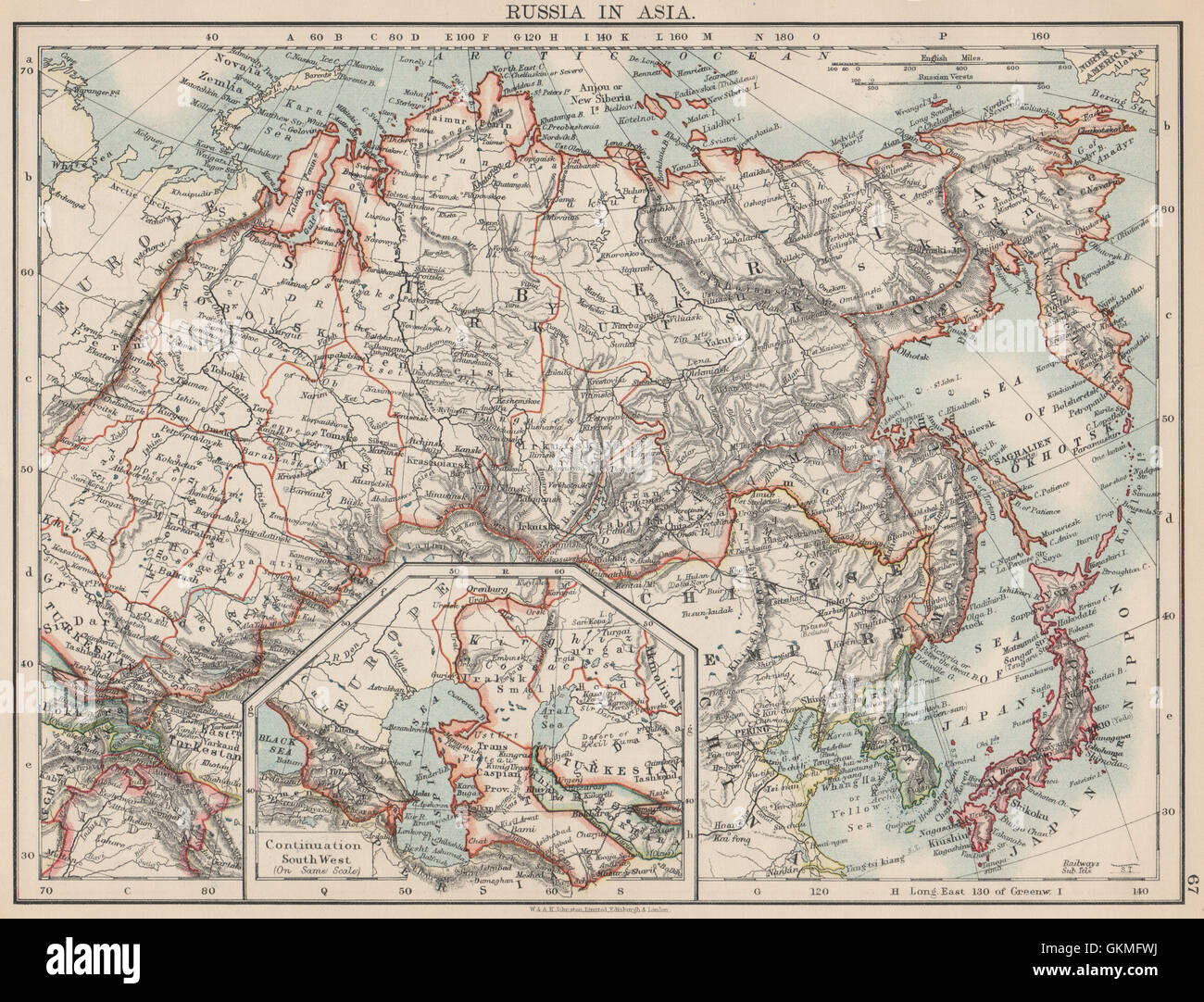 Russia in asia shows trans siberian railway under construction russia in asia shows trans siberian railway under construction 1903 old map sciox Images