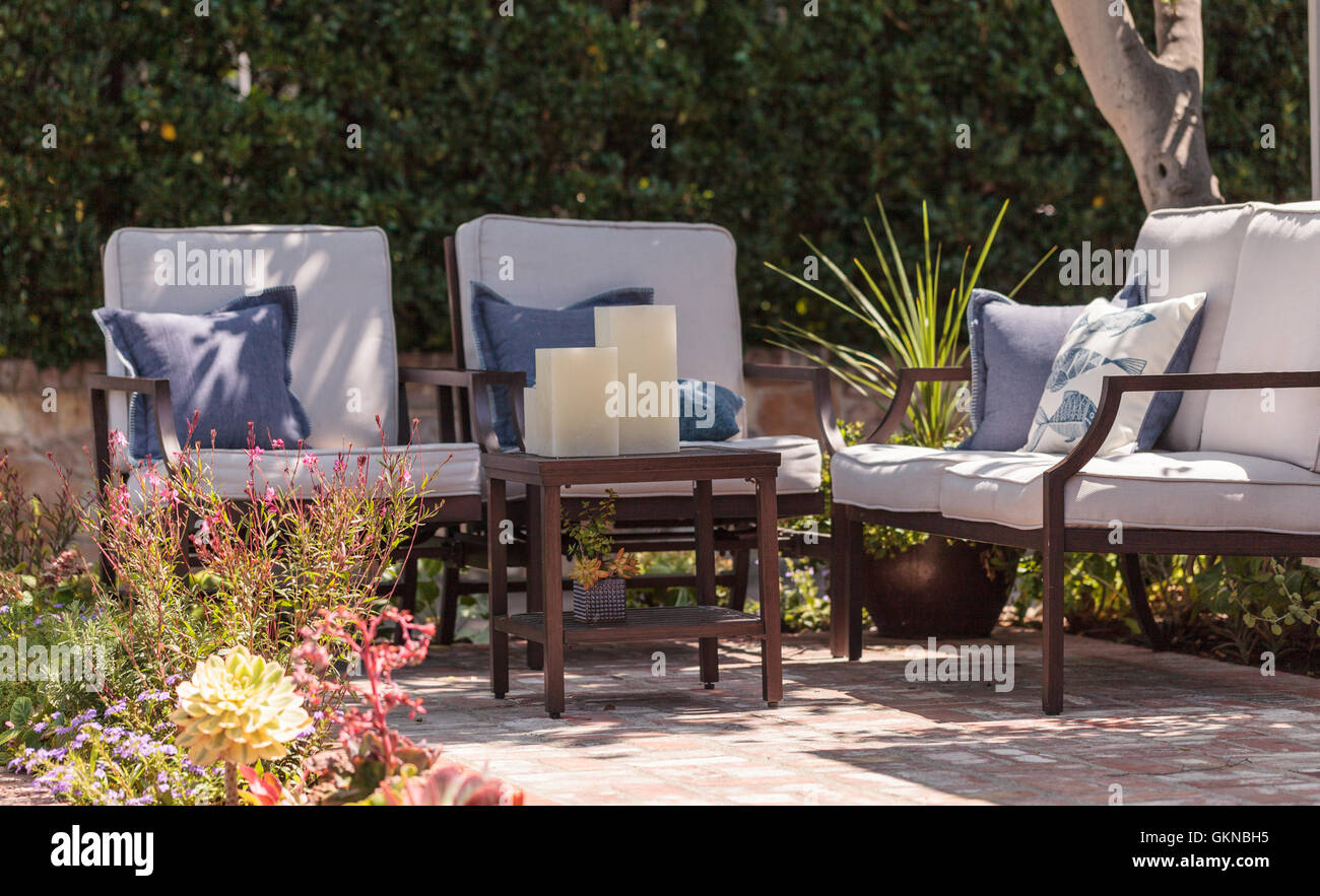 Irvine, CA, USA U2013 August 19, 2016: Patio Furniture And Feng Shui Garden  Decor Located In A Private Small Patio With Plants And F