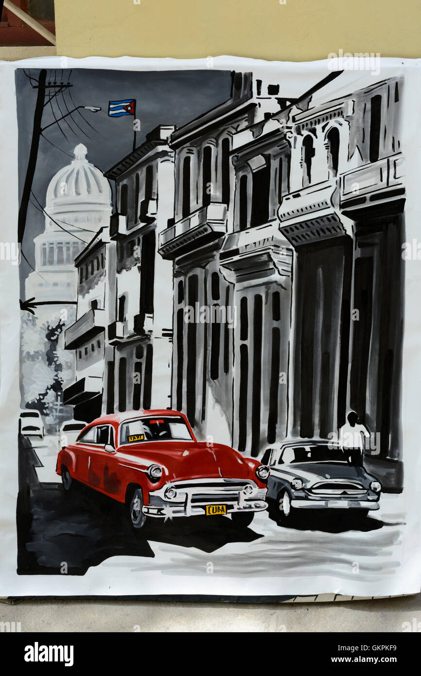Painting of a classic American car on sale in Old Havana, Cuba ...