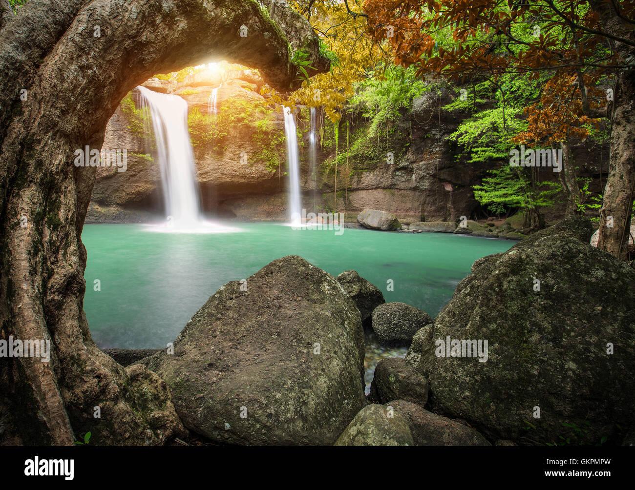 hew su wat waterfall in khao yai national park thailand ...