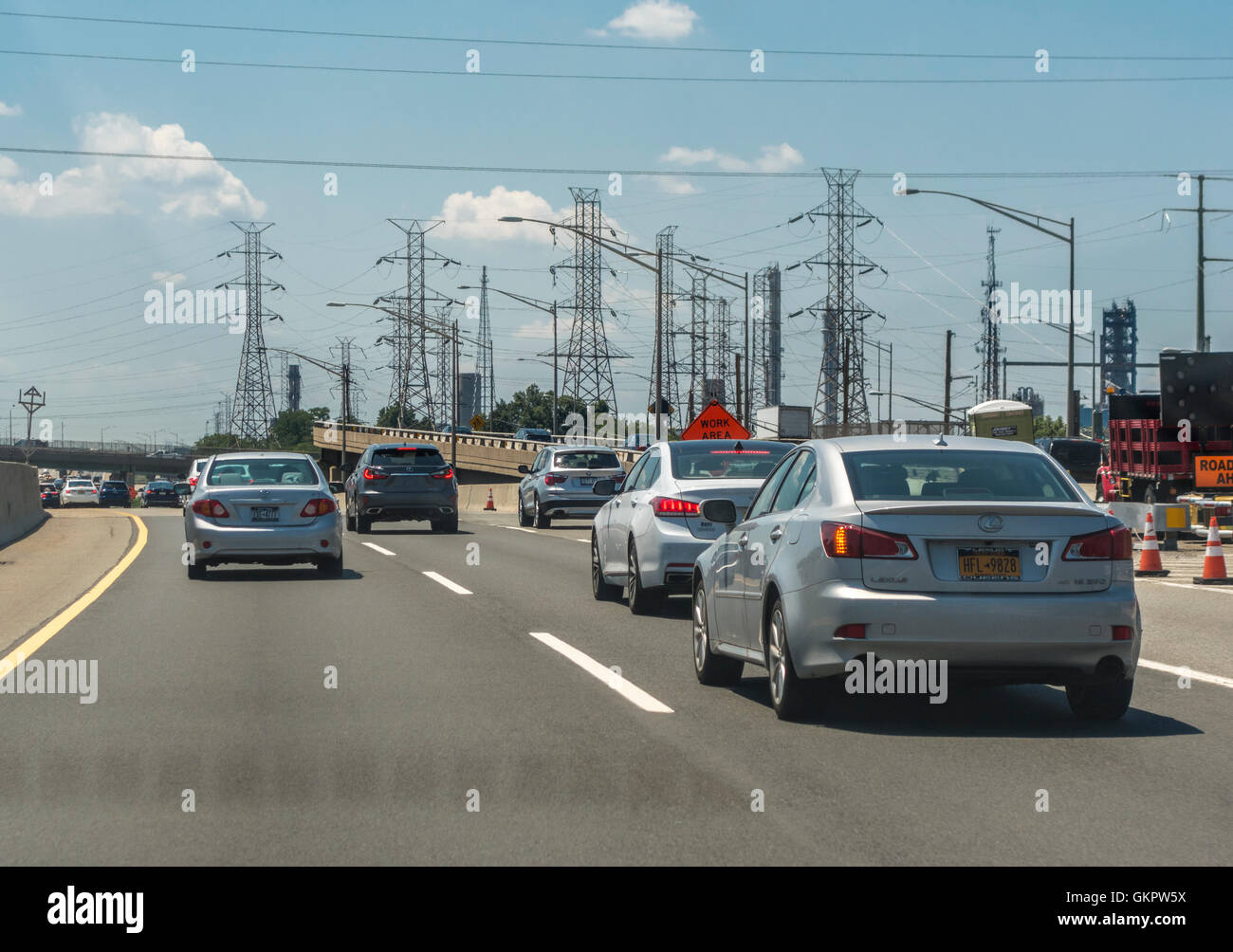 new jersey turnpike stock photos new jersey turnpike stock new jersey turnpike cars electricity pylons and power lines along the road stock image