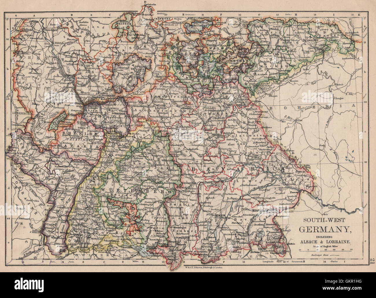 Southern Germany Bavaria Wurtemberg Saxony Alsace German Lorraine – Map Southern Germany