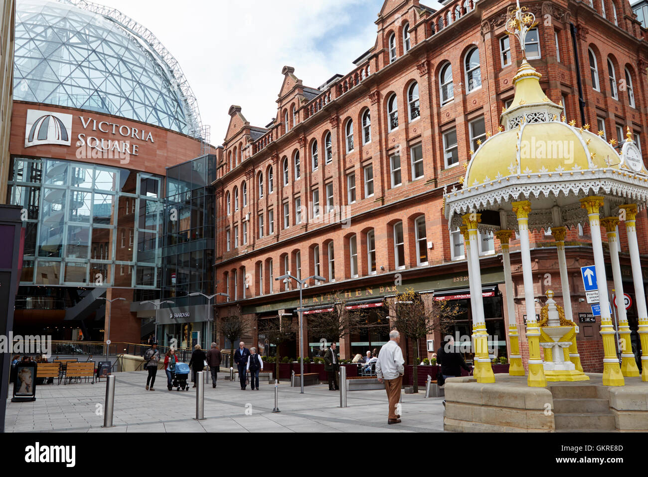 Victoria Square Shopping Centre Jaffe Fountain And The Kitchen Bar Belfast  City Centre   Stock Image