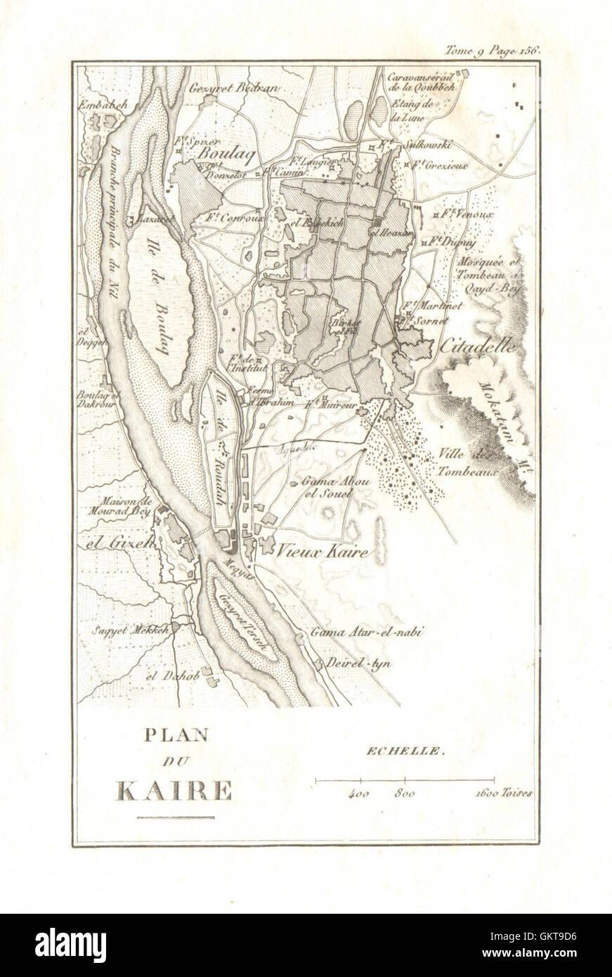 Map Of CAIRO Plan Du Kaire Giza Egypt Stock Photo - Giza map