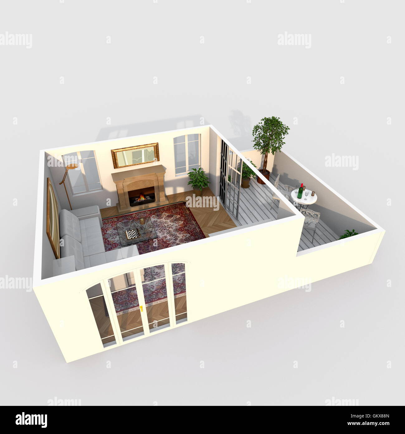 3d interior rendering perspective view of furnished living room