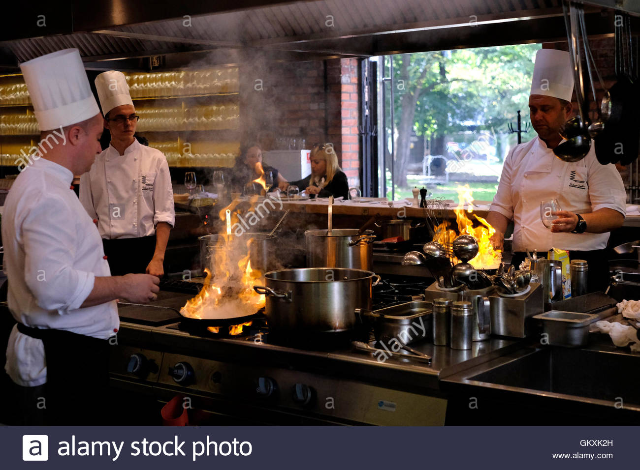 Restaurant Kitchen Staff kitchen staff at work in warszawa wschodnia restaurant located in