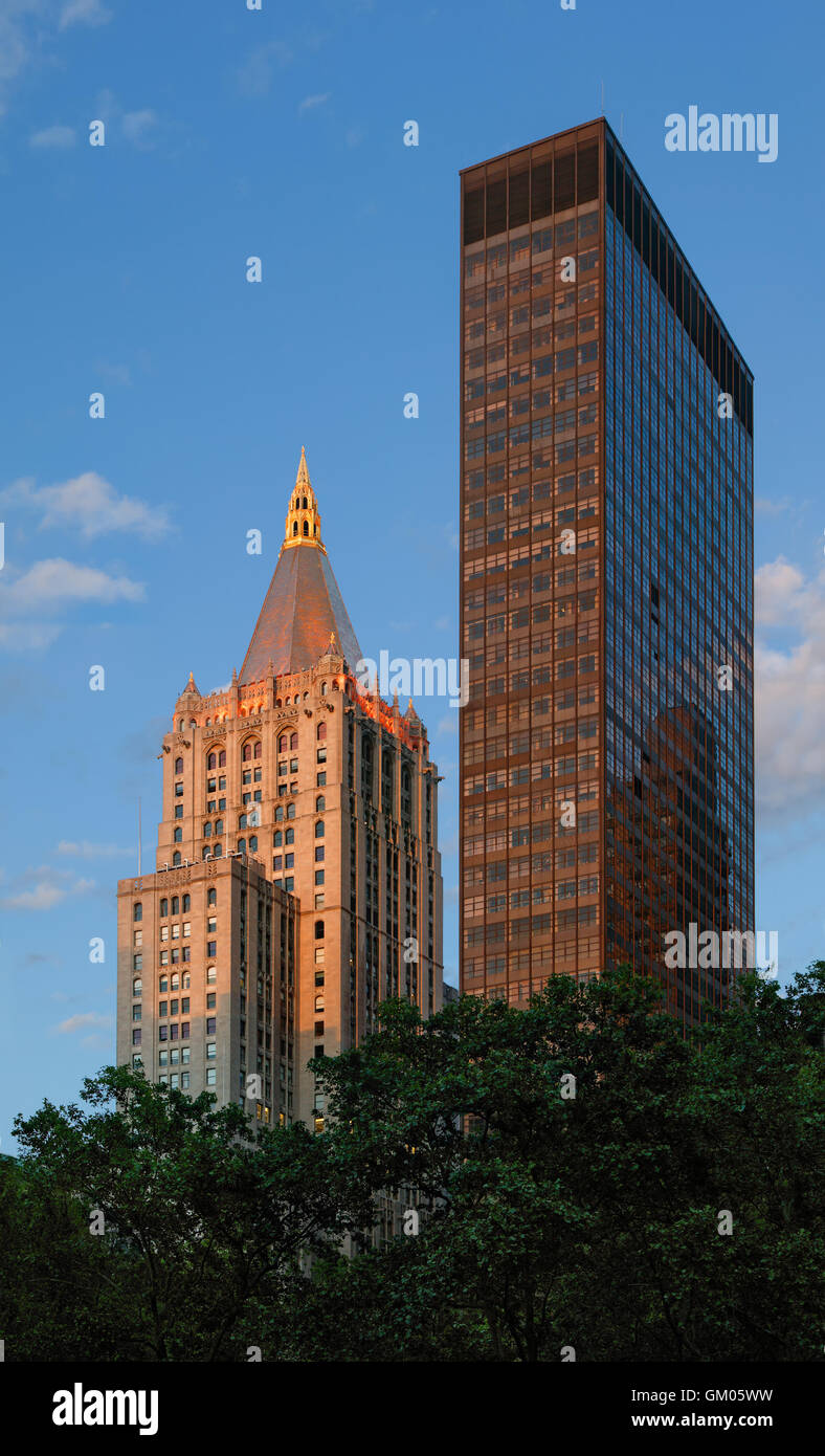 Sunset View Of Modern And Neo Gothic Architure Buildings On Madison Square Park Flatiron District Manhattan New York City