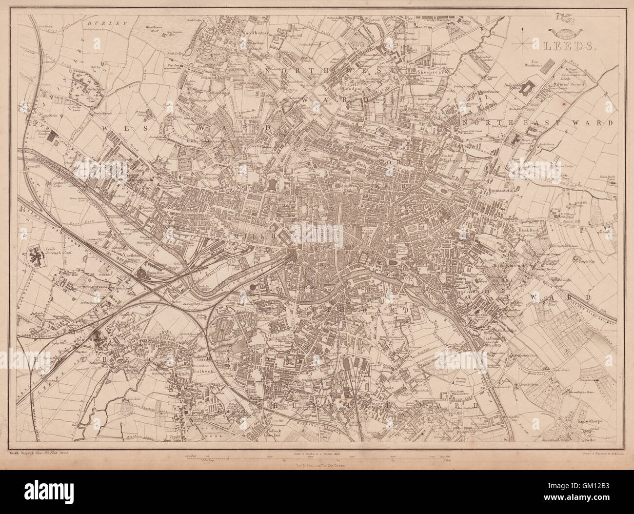 LEEDS Large towncity plan by BR DAVIES for the Dispatch Atlas