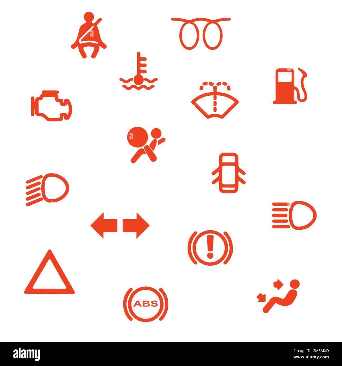 vehicle dash warning symbols stock vector art