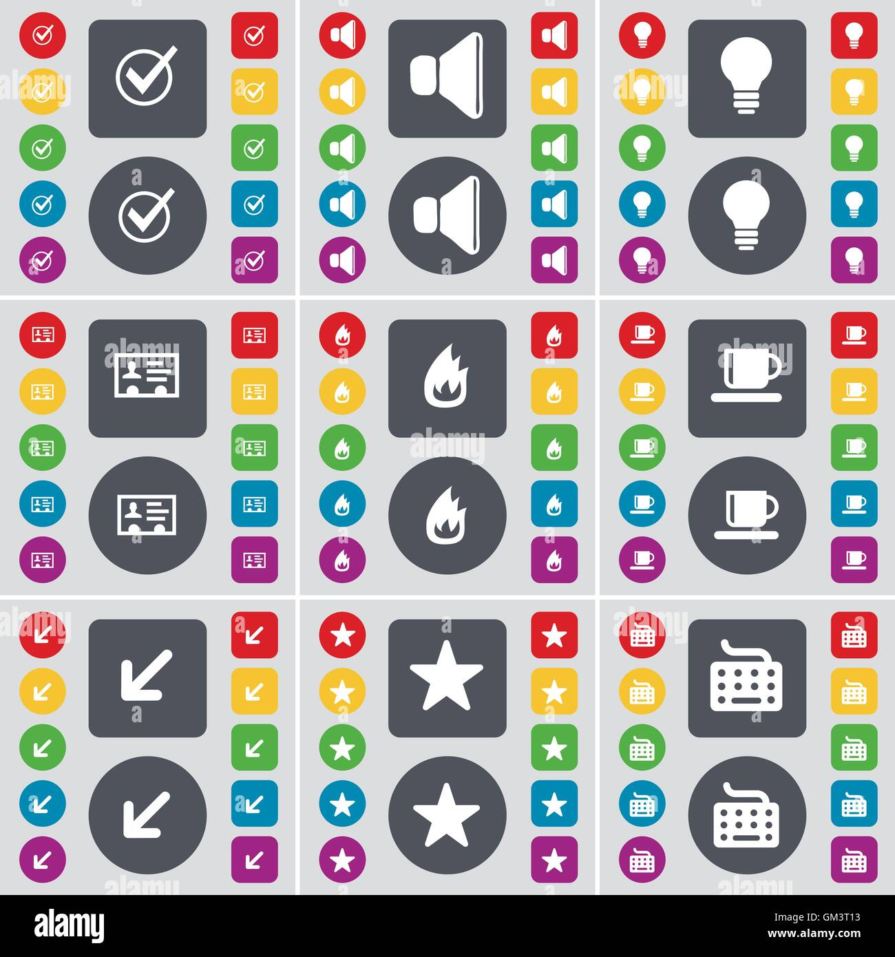 Tick sound light bulb contact fire cup deploying screen tick sound light bulb contact fire cup deploying screen star keyboard icon symbol a large set of flat colored buttons biocorpaavc
