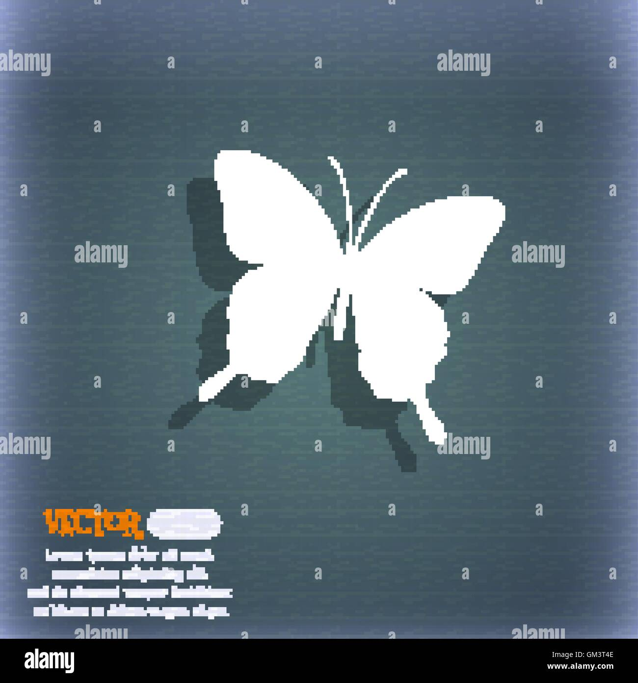Butterfly icon symbol on the blue green abstract background with butterfly icon symbol on the blue green abstract background with shadow and space for your text vector biocorpaavc Images