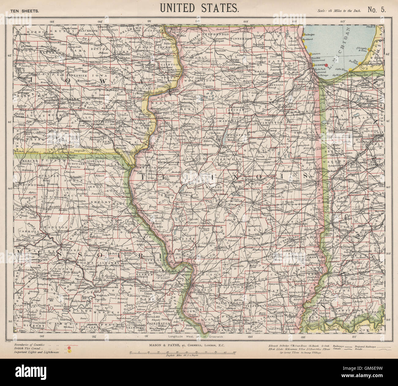US MIDWEST Missouri Illinois Indiana Iowa Chicago Railroads - Map of the us midwest