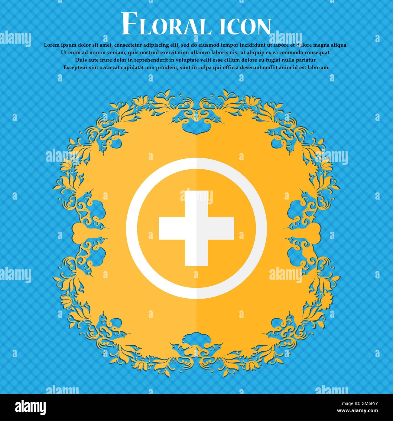 Plus sign icon positive symbol zoom in floral flat design on a plus sign icon positive symbol zoom in floral flat design on a blue abstract background with place for your text vector biocorpaavc Choice Image