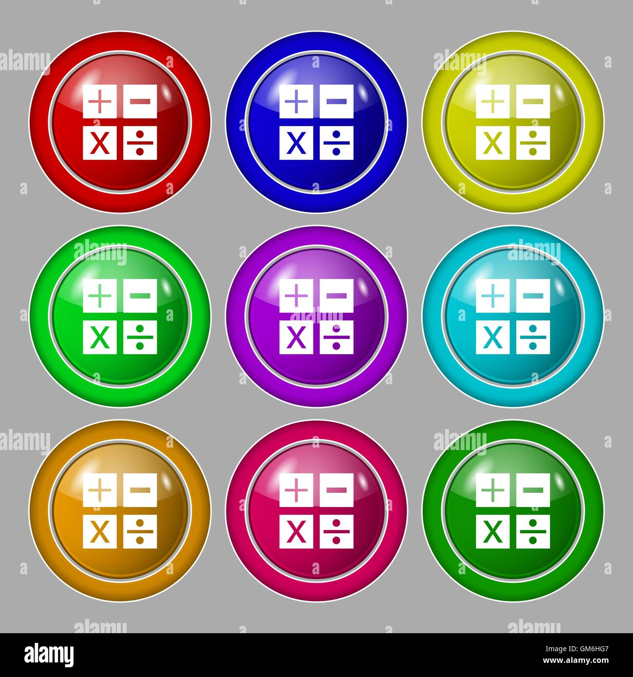 Multiplication division plus minus icon math symbol mathematics multiplication division plus minus icon math symbol mathematics symbol on nine round colourful buttons vector biocorpaavc Image collections