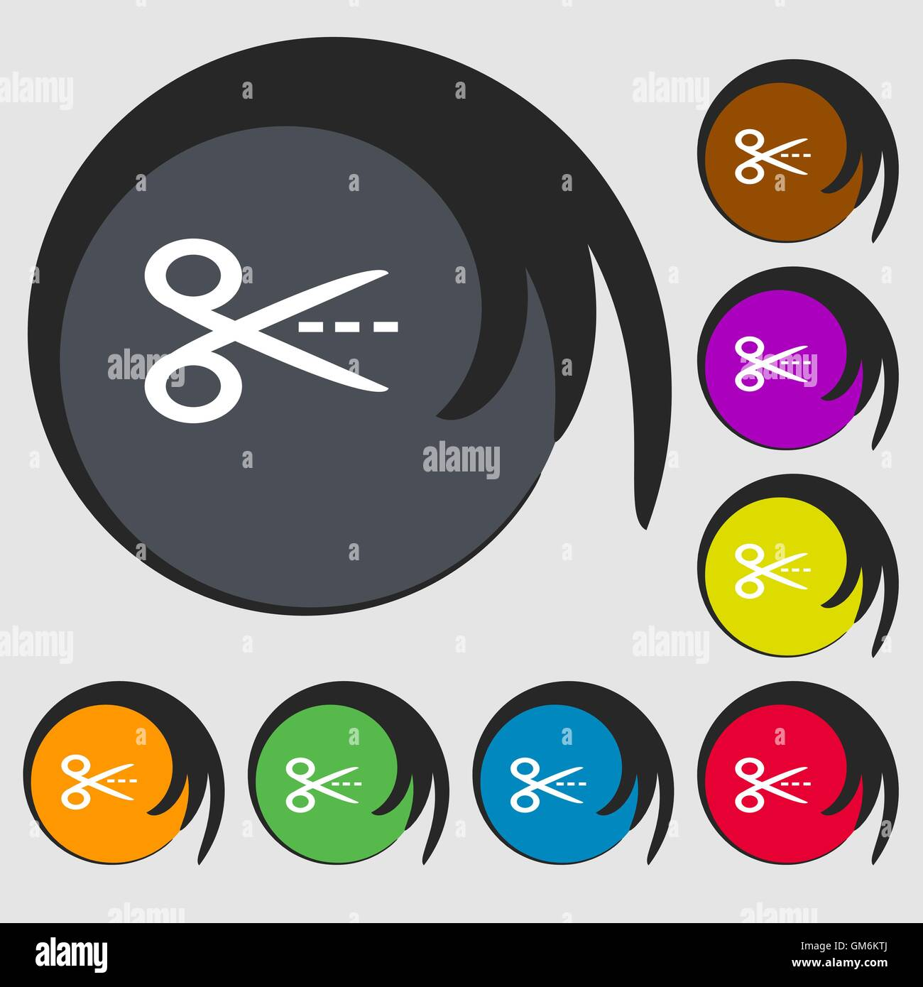 Scissors with cut dash dotted line sign icon tailor symbol scissors with cut dash dotted line sign icon tailor symbol symbols on eight colored buttons vector biocorpaavc