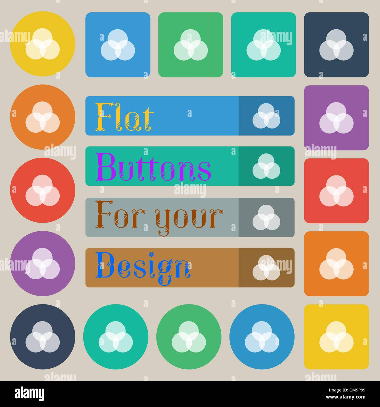 Color Scheme Icon Sign Set Of Twenty Colored Flat Round Square And Rectangular Buttons Vector