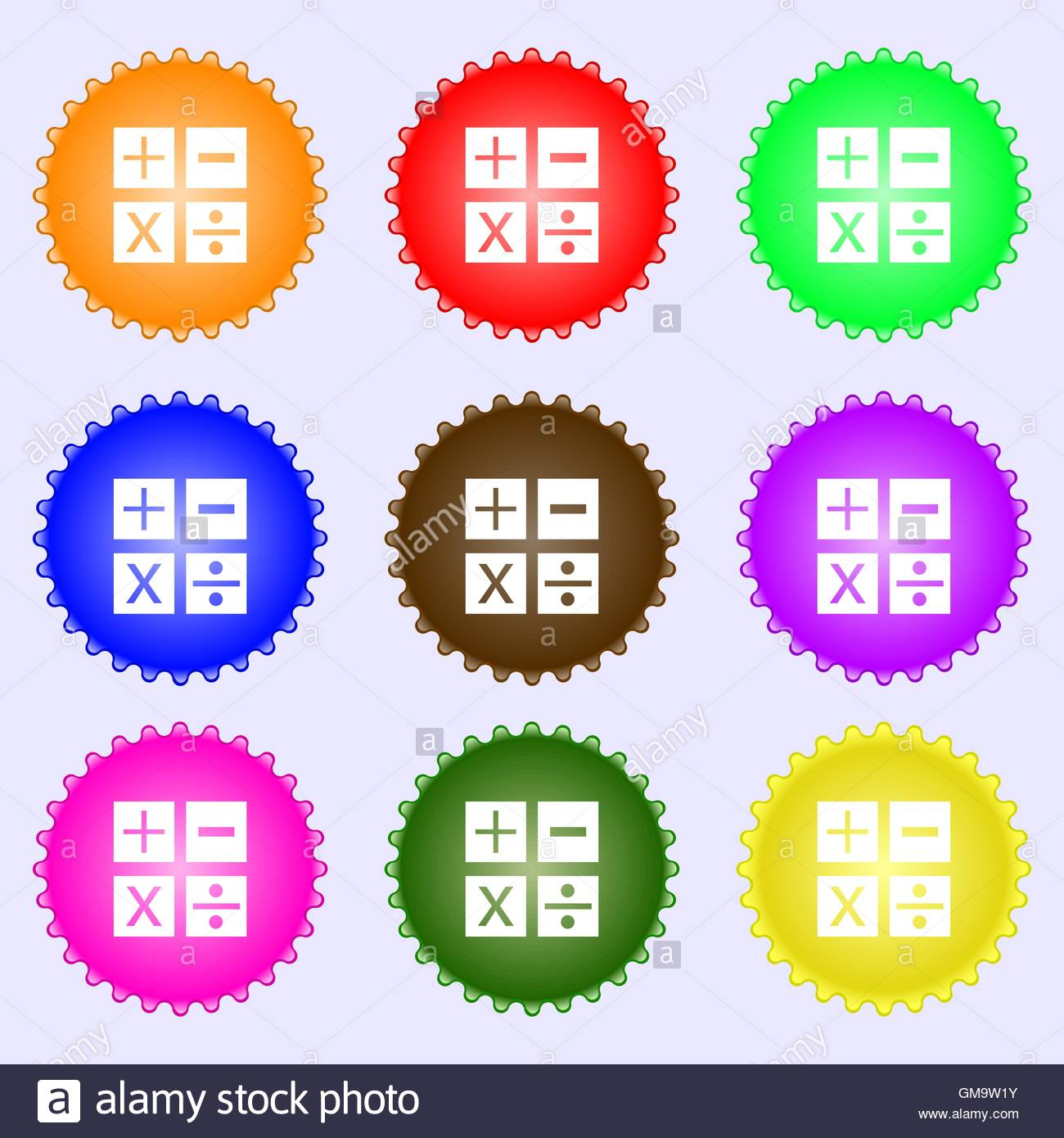 Multiplication division plus minus icon math symbol mathematics multiplication division plus minus icon math symbol mathematics a set of nine different colored labels vector biocorpaavc Images