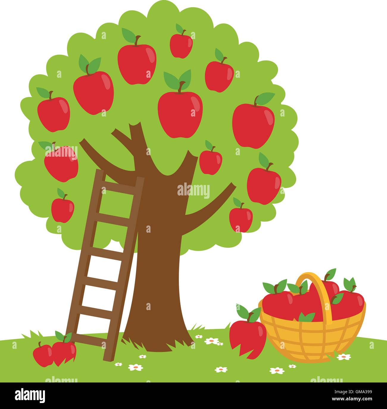 Vector Illustration Of An Apple Tree A Ladder And A
