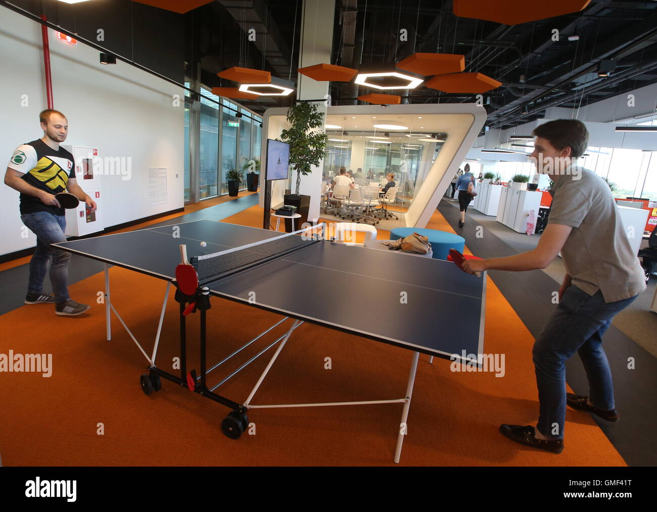 Moscow russia 25th aug 2016 people play table tennis for Table moscow