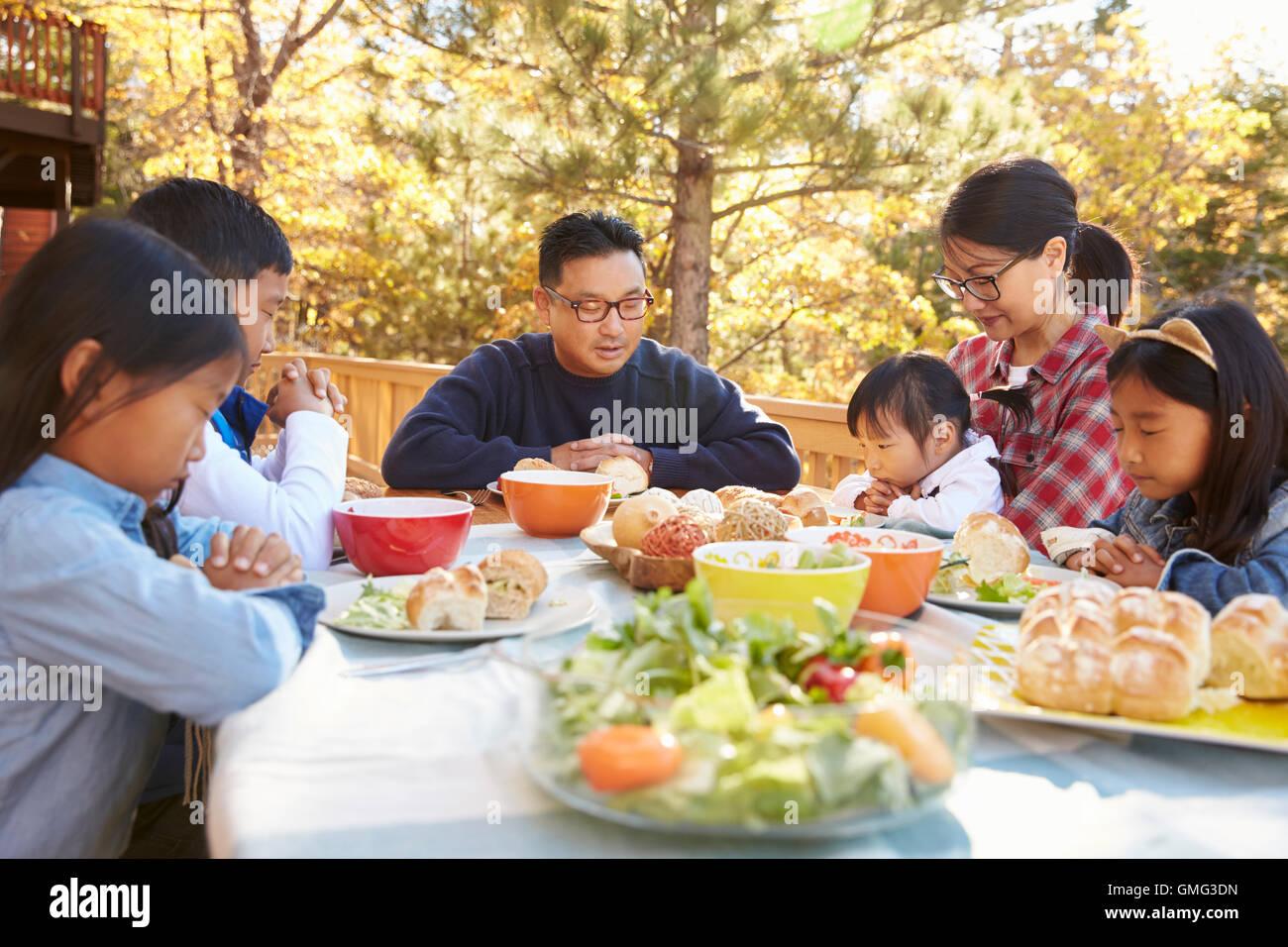 Asian prayer eating