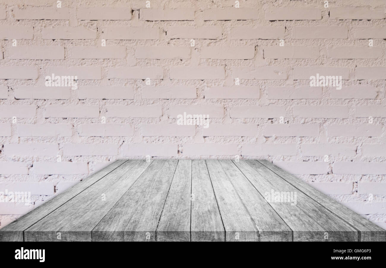 Perspective black and white wooden table top with brick ...