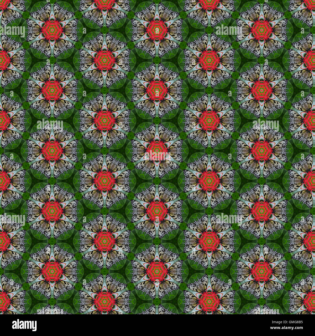 beautiful tileable seamless repeat pattern of butterfly on flower