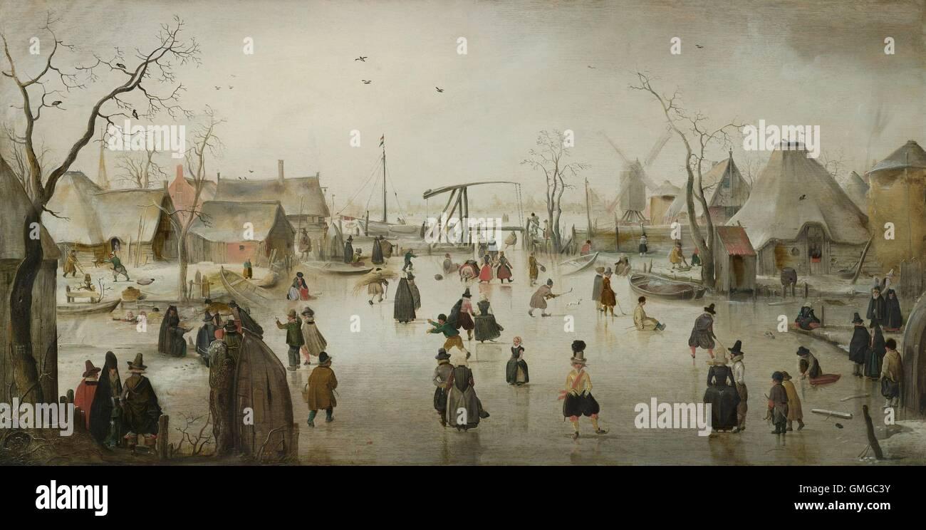 ice skating in a village by hendrick avercamp 1610 dutch