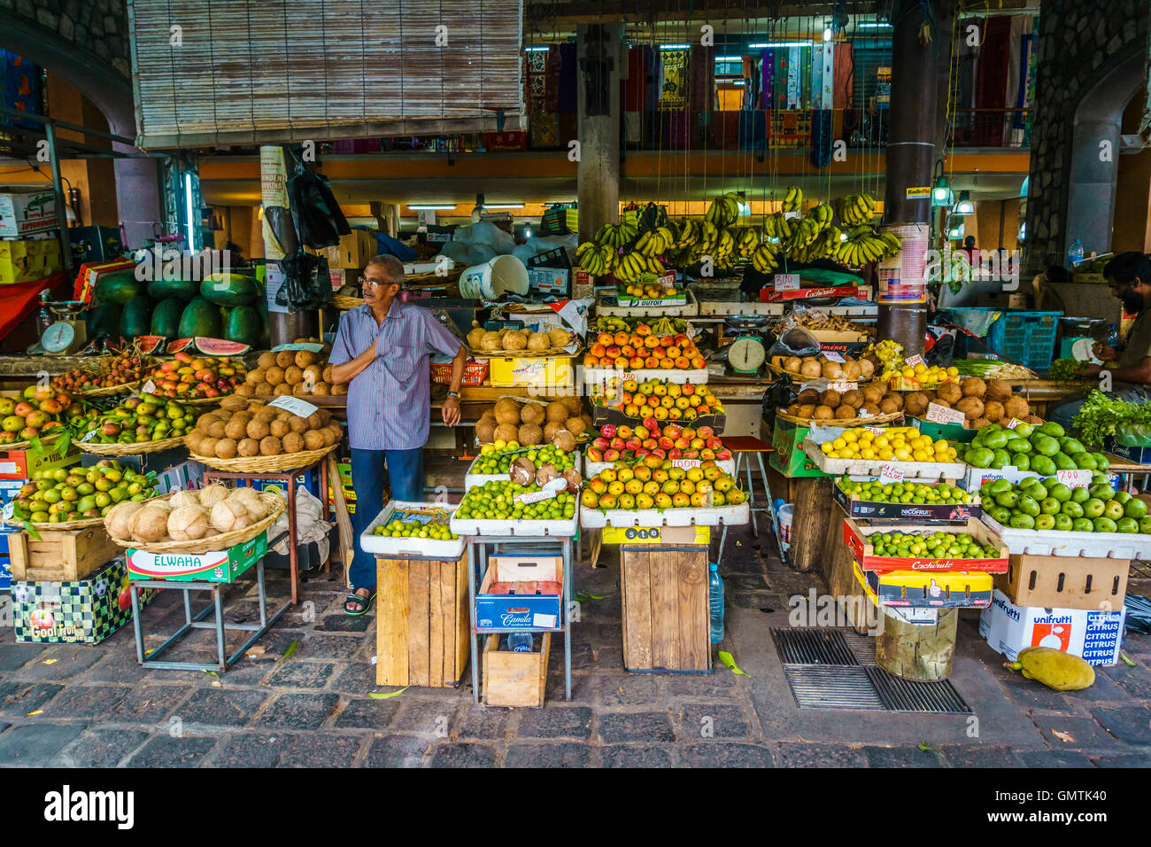 Fruit seller at central market in port louis capital city of stock photo 116097184 alamy - Mauritius market port louis ...