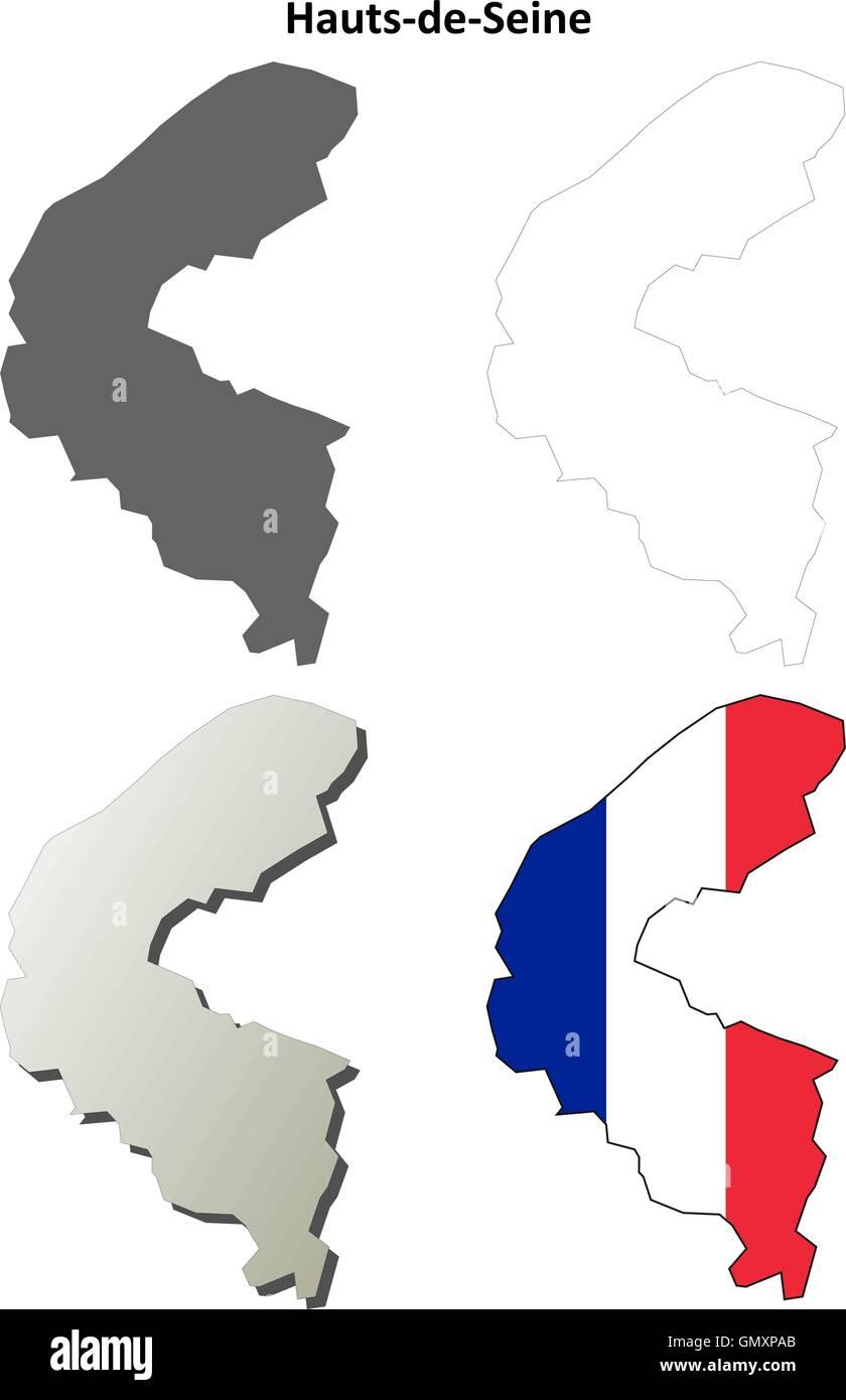 HautsdeSeine IledeFrance outline map set Stock Vector Art