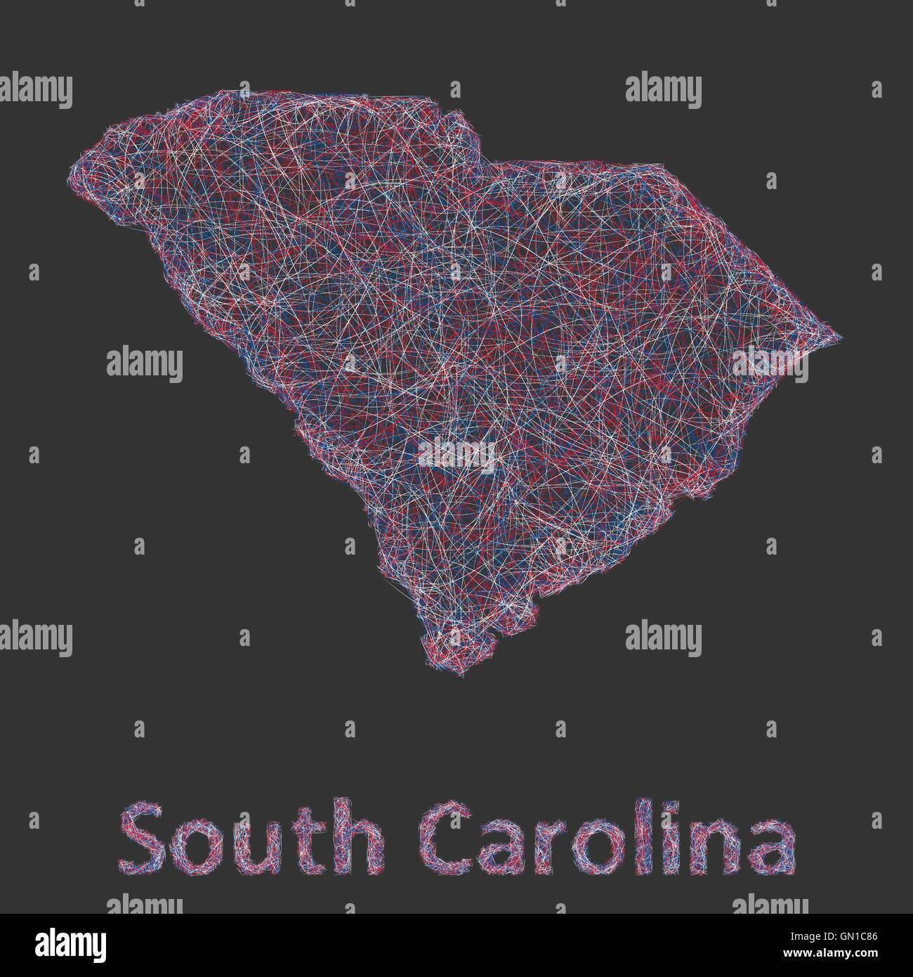 South Carolina line art map Stock Vector Art Illustration