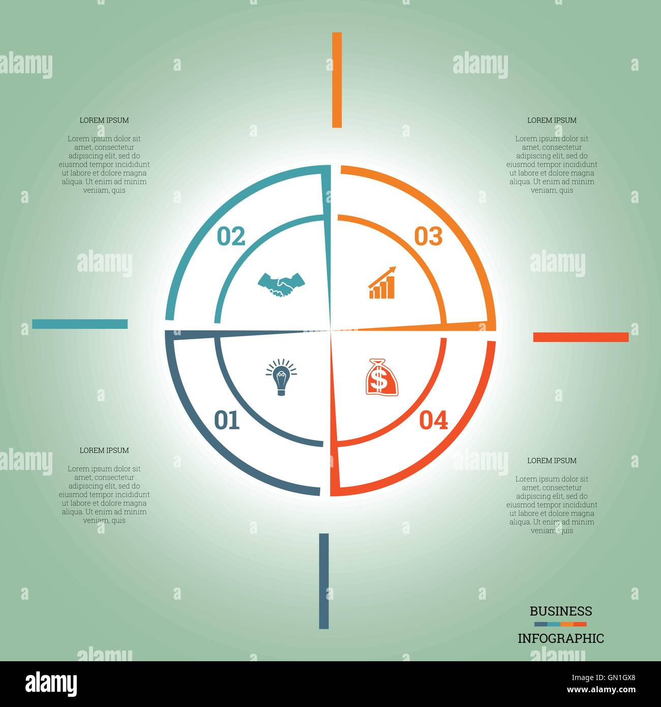 Infographic pie chart template colourful circle from lines with text infographic pie chart template colourful circle from lines with text areas on four positions nvjuhfo Choice Image