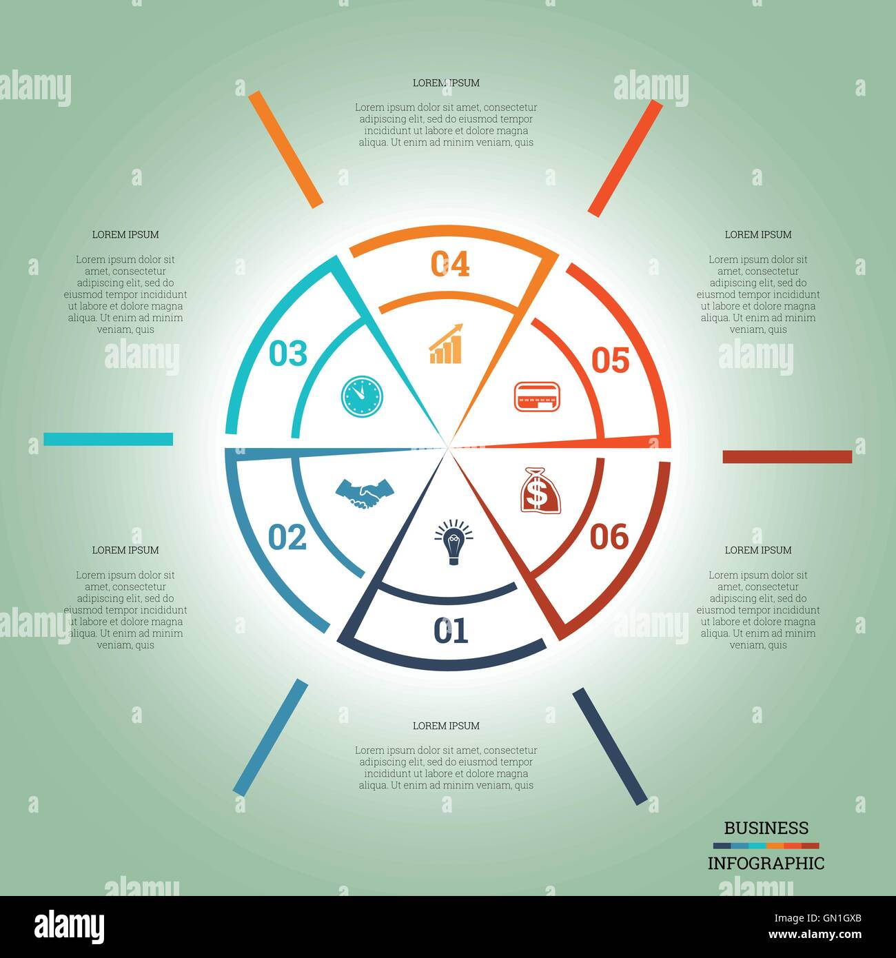 Infographic pie chart template colourful circle from lines with text infographic pie chart template colourful circle from lines with text areas on six positions nvjuhfo Choice Image